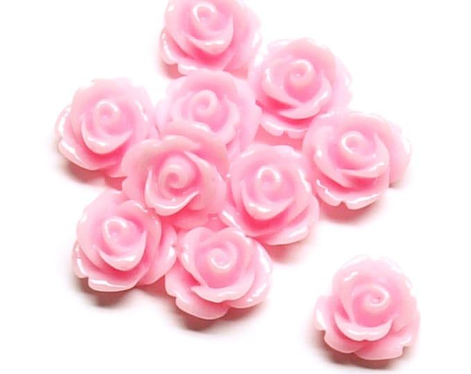 RSCRS-10PK - Resin Cabochon, Rose 10mm, Pink - 10 Pieces (1pk)