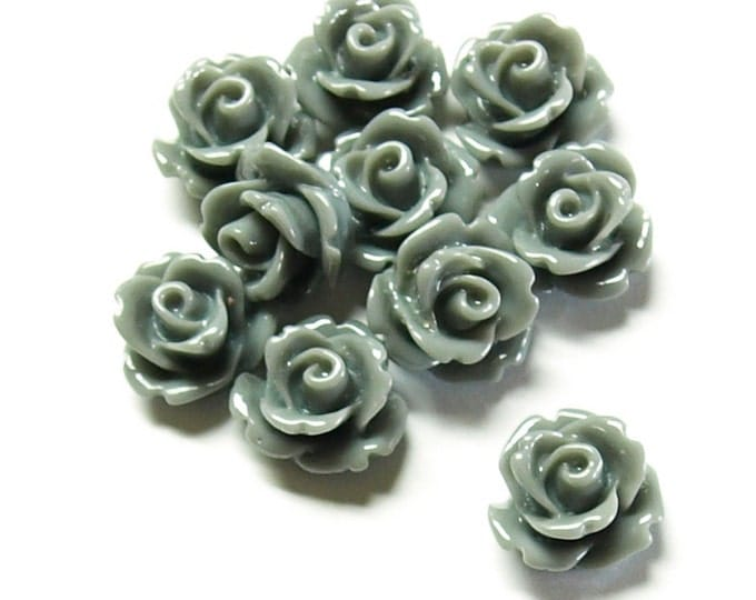 RSCRS-10GY - Resin Cabochon, Rose 10mm, Gray - 10 Pieces (1pk)