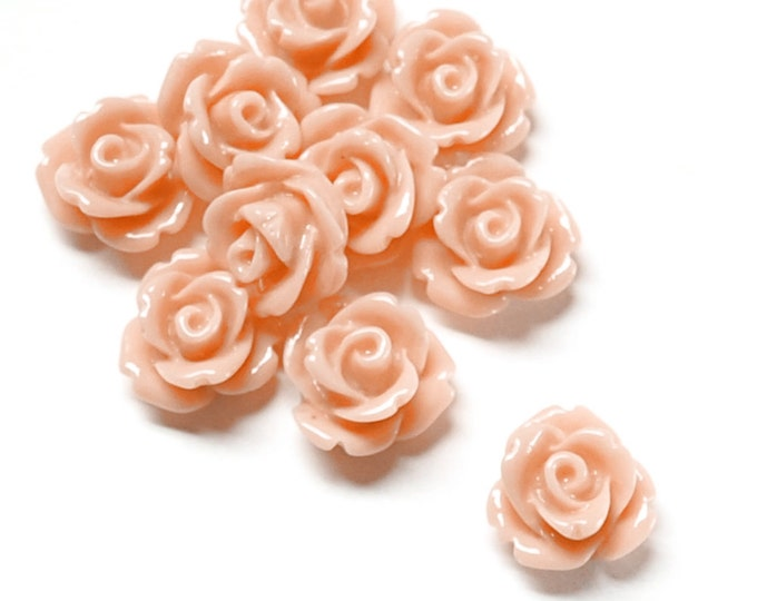 RSCRS-10PE - Resin Cabochon, Rose 10mm, Peach - 10 Pieces (1pk)