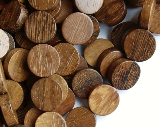 Wood Bead, Coin 15mm, Robles - 16 Inch Strand