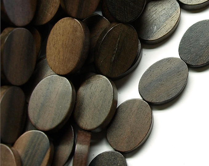 Wood Bead, Flat Oval 15x20mm, Tiger Ebony - 8 Inch Strand (WDOVF-20TE)