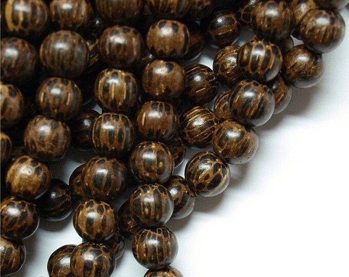 Wood Bead, Round 8mm, Old Palm - 16 Inch Strand (WDRD-08PM)