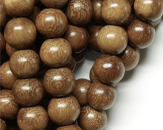 WDRD-15RB - Wood Bead, Round 15mm, Robles - 8 Inch Strand