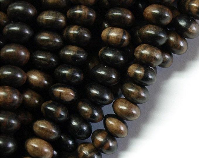 Wood Bead, Rondelle 6x10mm, Tiger Ebony - Three 16 Inch Strands