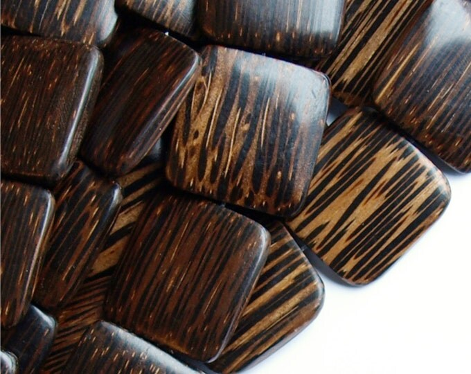 Wood Bead, Flat Square 25mm, Old Palm - Five 16 Inch Strands (WDSQ-25PM)