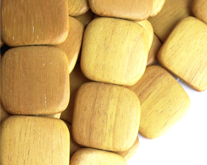 Wood Bead, Flat Square 25mm, Nangka - 8 Inch Strand (WDSQ-25NK)