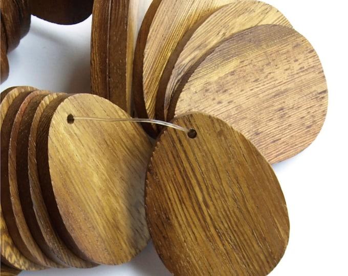 WDTDF-40RB - Wood Pendant, Flat Teardrop 30x40mm, Robles - 2 Pieces