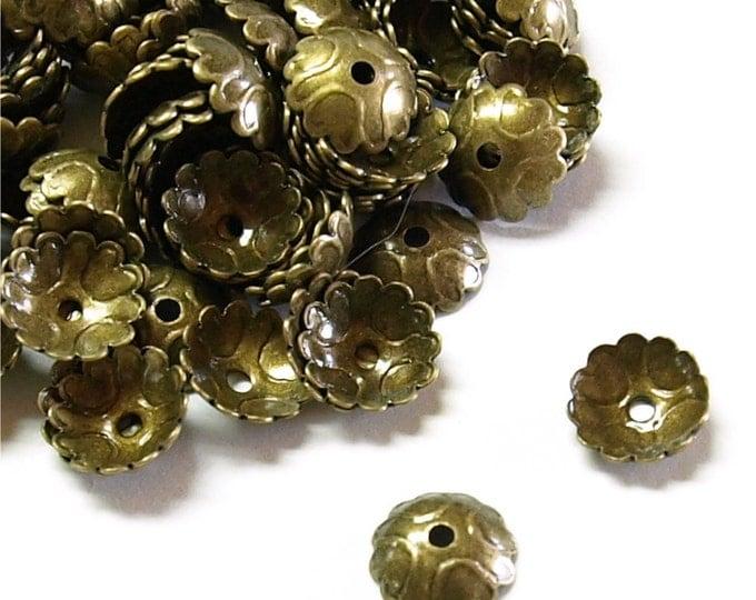 BCBAB-08 - Bead Cap, 7mm, Antique Brass - 50 Pieces (1pk)
