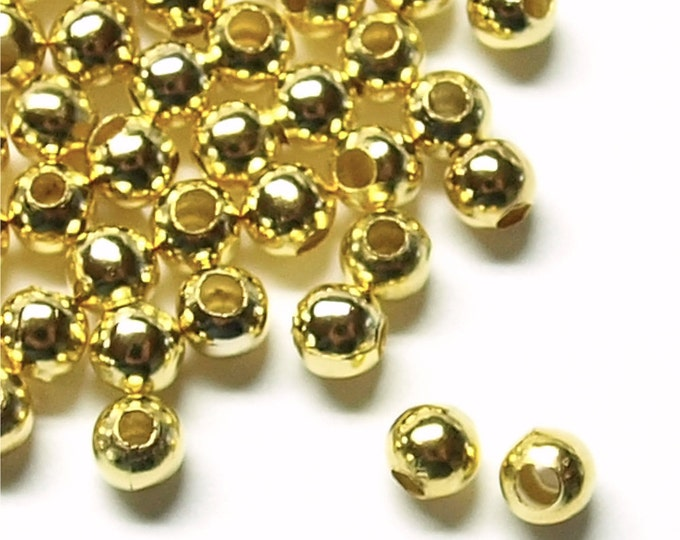 CLOSEOUT - BDBGP-rd40 - Bead, Round, 4mm, Gold - 100 Pieces (1pk)