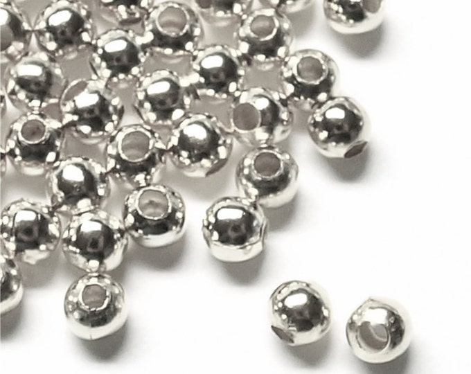 BDBSP-rd40 - Bead, Round, 4mm, Silver - 100 Pieces (1pk)