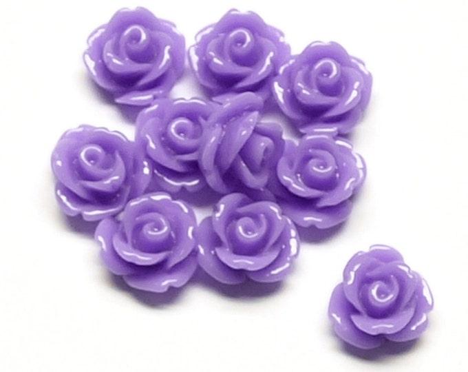 RSCRS-10LV - Resin Cabochon, Rose 10mm, Lavender - 10 Pieces (1pk)