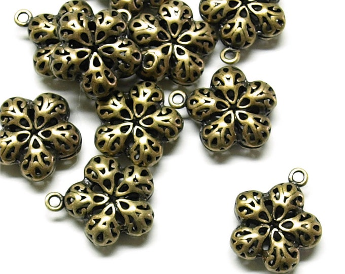 CMBAB-04 - Charm (Flower), 16x14mm, Antique Brass - 2 Pieces (1pk)