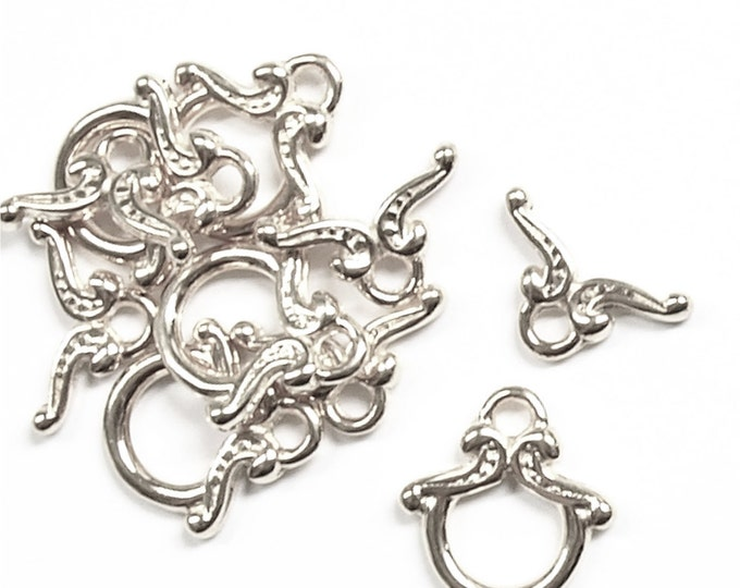 CLASP-TG01 - Clasp, Toggle, 12mm, Silver - 5 Sets