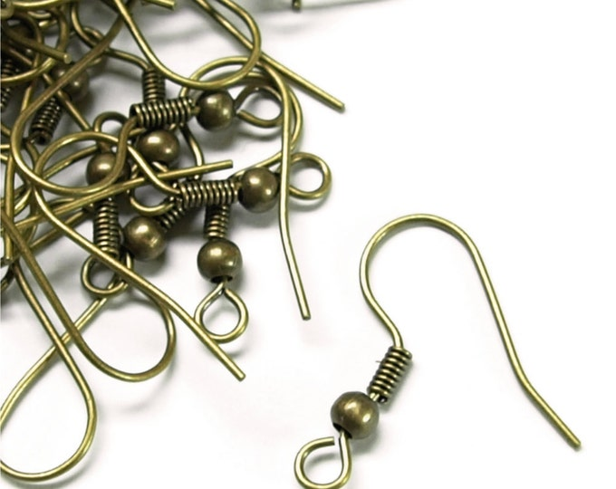 EWBAB-fhbc - Earwire, Fishhook Ball/Coil, Antique Brass - 20 Pieces (1pk)