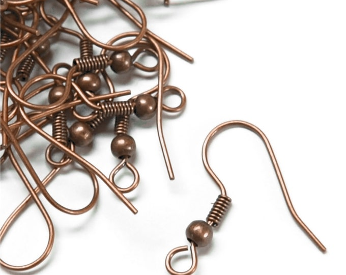EWBAC-fhbc - Earwire, Fishhook Ball/Coil, Antique Copper - 20 Pieces (1pk)