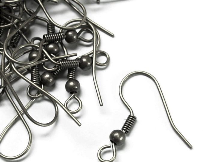 EWBGM-fhbc - Earwire, Fishhook Ball/Coil, Gunmetal - 20 Pieces (1pk)