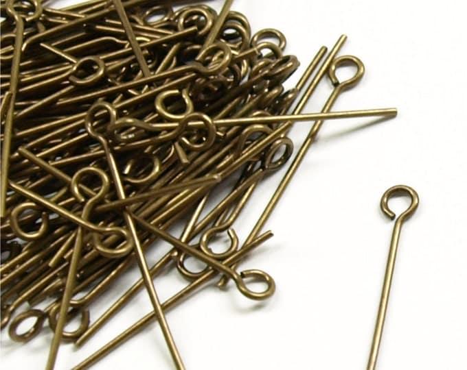 EPBAB-2521 - Eye Pin, 1 in/21 ga, Antique Brass - 100 Pieces (1pk)