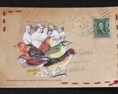Original collage on antique postcard, Picnic