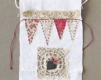 Small art quilt, Prayer flag, metal heart, hand stitched