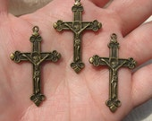 Three Antique Brass CRUCIFIX Cross Charms Jewelry Findings