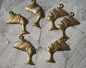 Small Brass Nefertiti Egyptian Charms Queen Pharoah SET OF SIX three pairs