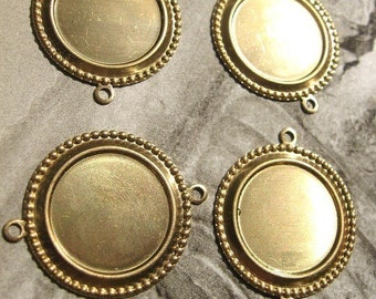 Raw Brass 18mm Round Bezel Cabochon Settings Links Connectors Set of Four Wholesale Jewelry Supplies