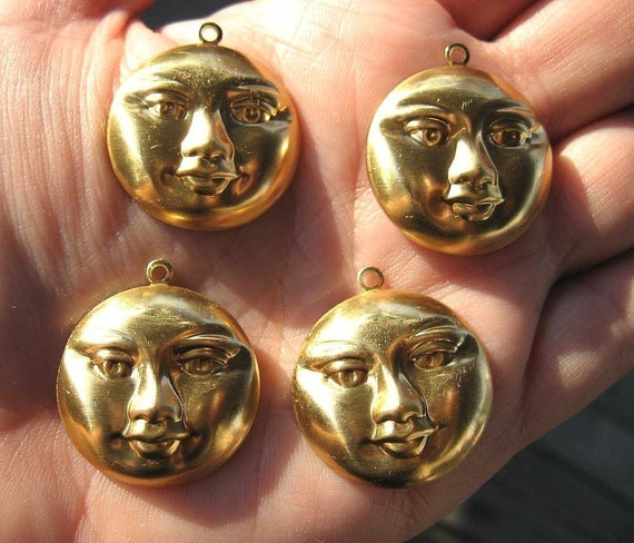 Brass FuLL MOON Charms/Pendants Large SET of FOUR