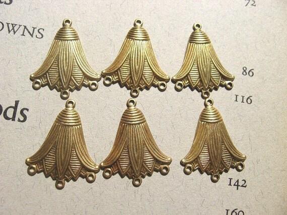 Six Beautiful Brass EGYPTIAN DeCo LOTUS 3 Loop Drops CHARMS