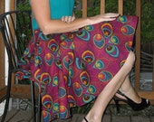 Peacock Skirt Full Circle Skirt Purple Skirt Custom Size Womens Skirt