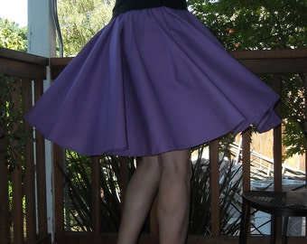 Purple Circle Skirt Custom Made Any Size Womens dance skirt Cotton Full Skirt