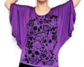 Purple Dolman Sleeve Top with El Dia de los Muertos Screenprint XL