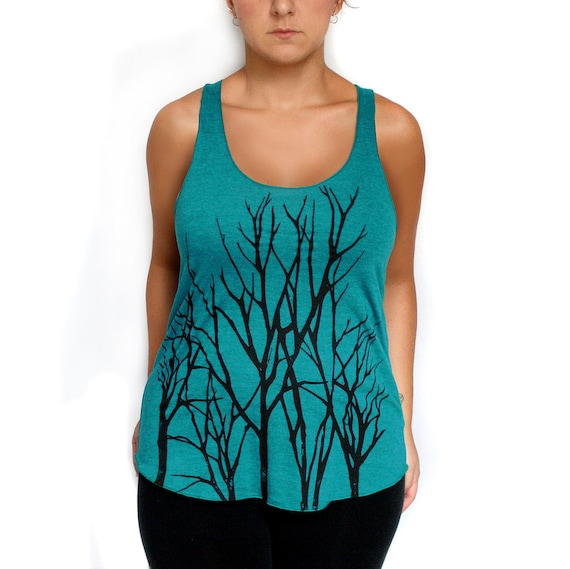 Tri-Blend Evergreen Racerback Tank with Branch Trees Screen Print - Small