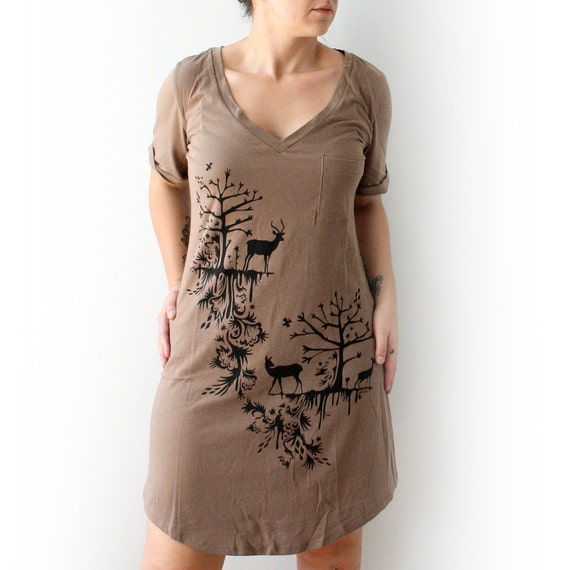 Cocoa V- Neck Tee Tunic Dress with Deer and Trees Design - Medium