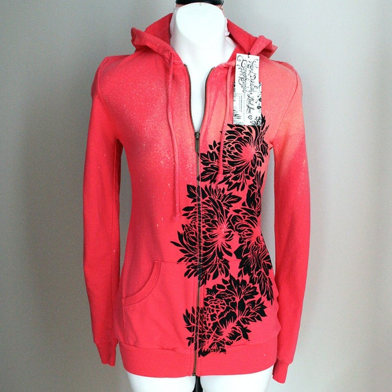 Hand Dyed Coral and Hot Pink Hooded Sweatshirt with Flowers Print OOAK - Large
