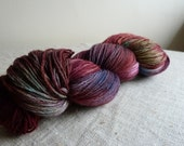 Hand dyed pure Merino wool sock yarn, fingering weight, burgundy