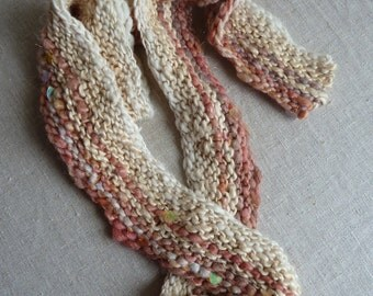 Scarf made from handspun yarns, art yarns