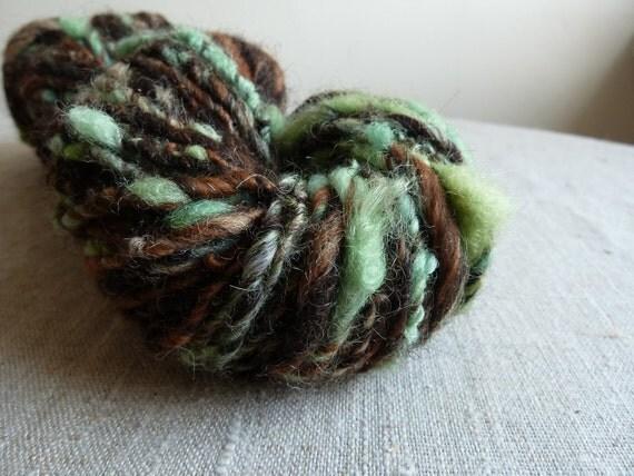 Handspun yarn, 'forest foliage'