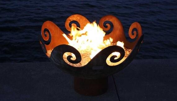 The Waves O' Fire 37 inch Sculptural Firebowl