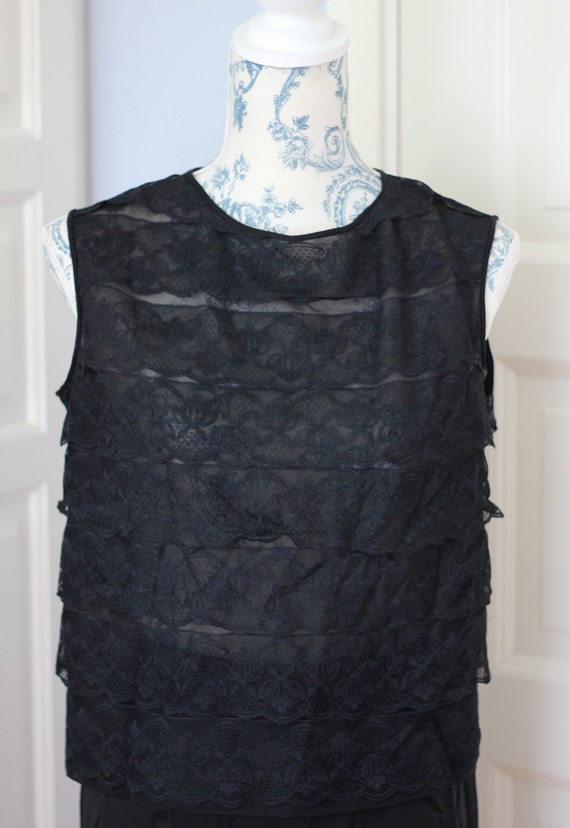 50s or 60s black lace top