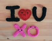 I Heart U and X O crochet PATTERNS