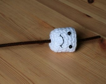 Crochet Frowny Toasted Marshmallow on a Stick