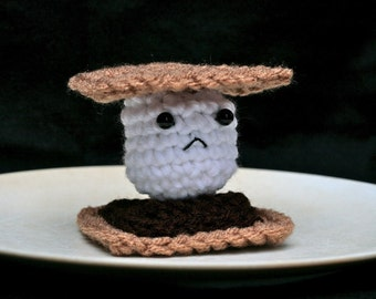 Frowny Smore -- Sad Crochet Plush
