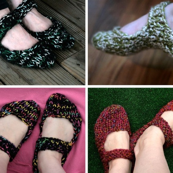 Knitted Mary Jane Slippers -- PATTERN -- PDF -- Easy stockinette stitch