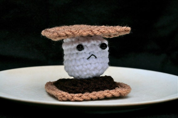 Frowny Smore -- Sad Crochet Plush