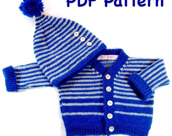 DiY Knit Pattern - Striped Baby Sweater and Hat: Easy Knitting