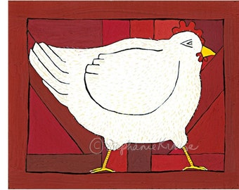 "Hen - 8"" x 10"" matted, signed digital Giclee print from original artwork"