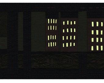 "SALE!   Lights - 8.5""x11"" glow-in-the-dark digital Giclee print from original artwork with hand-painted glow accents"