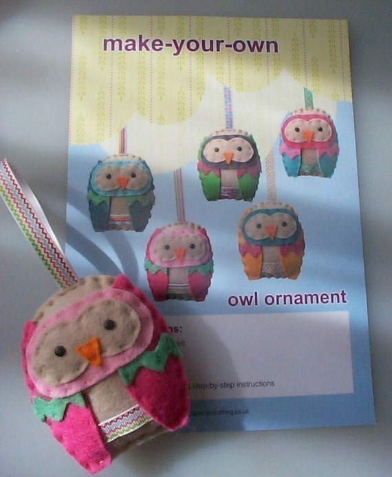 make your own Owl Ornament kit including pattern and materials PINK OWL