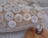 Vintage Creamy White  Button Heart