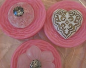 Vintage Pink Buttons and Rhinestones Magnet Set of Three